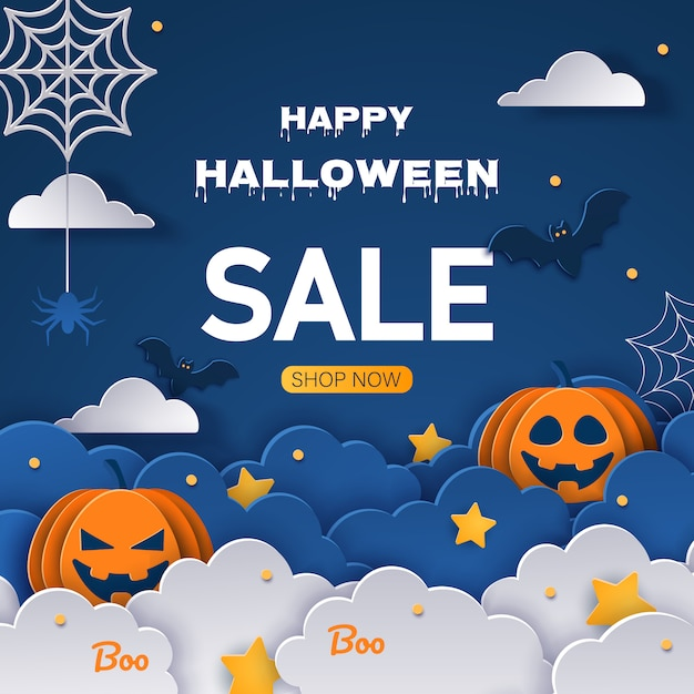 Sale halloween background. halloween offer design template. cartoon style  illustration Premium Vector