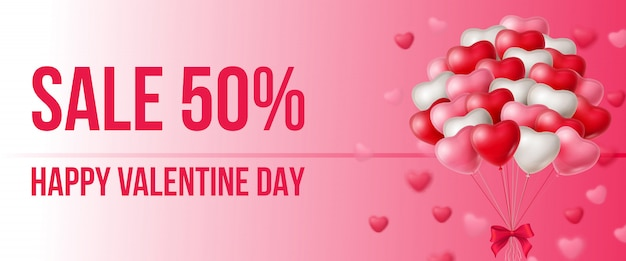 Sale, happy valentine day lettering with bunch of balloons Free Vector