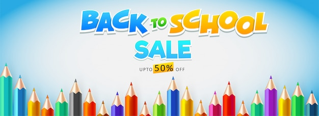 Sale header or banner design decorated with colored pencil Premium Vector