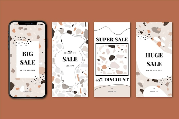 Sale instagram stories collection in hand drawn Free Vector