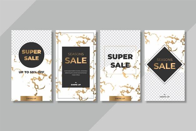 대리석 스타일의 판매 인스 타 그램 이야기 모음 무료 벡터