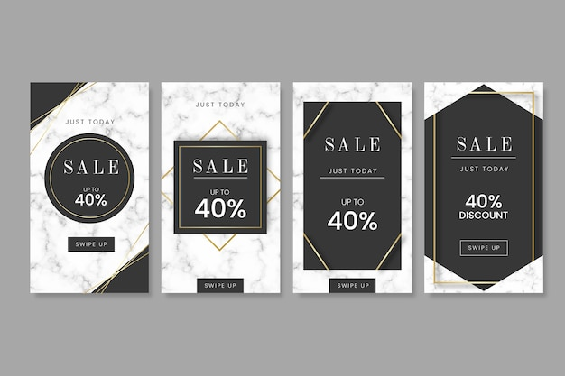 Sale instagram stories collection in marble style Free Vector