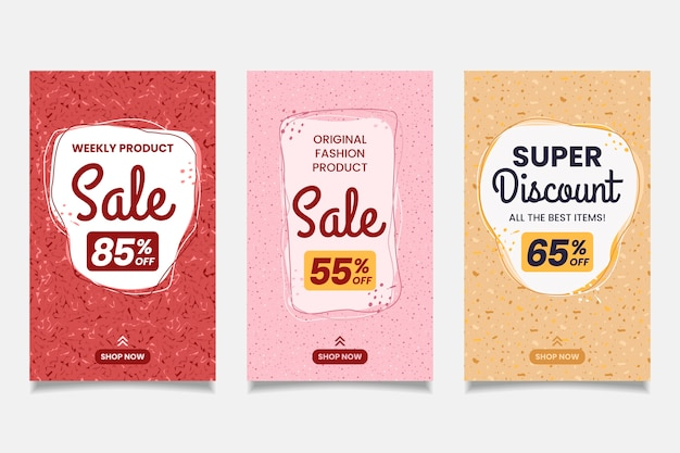Sale instagram stories collection in terrazzo and hand drawn style Free Vector