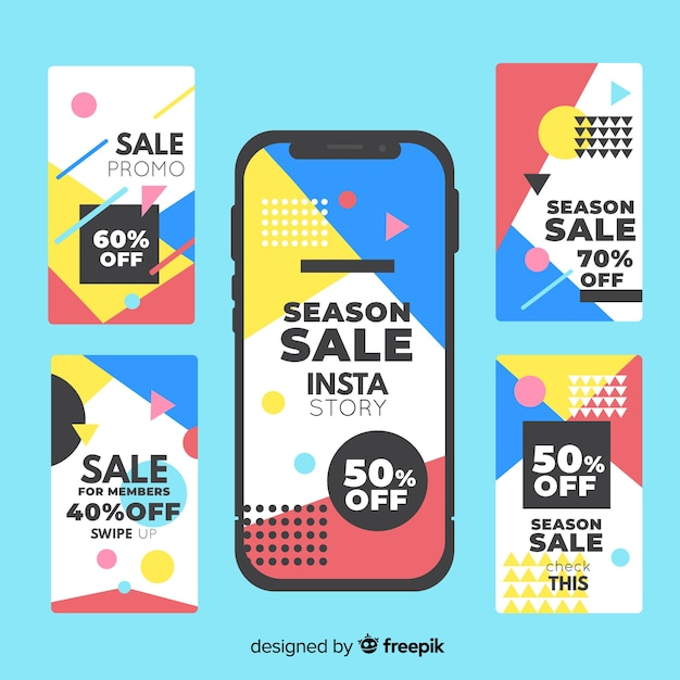 Sale instagram stories template collection Free Vector