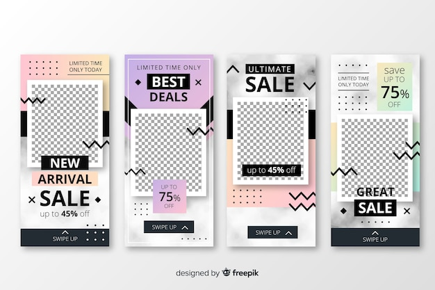 Sale instagram stories template set Free Vector