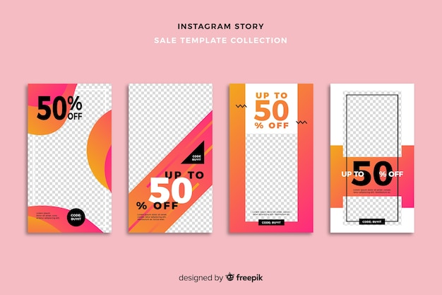 Sale instagram stories templates collection Free Vector