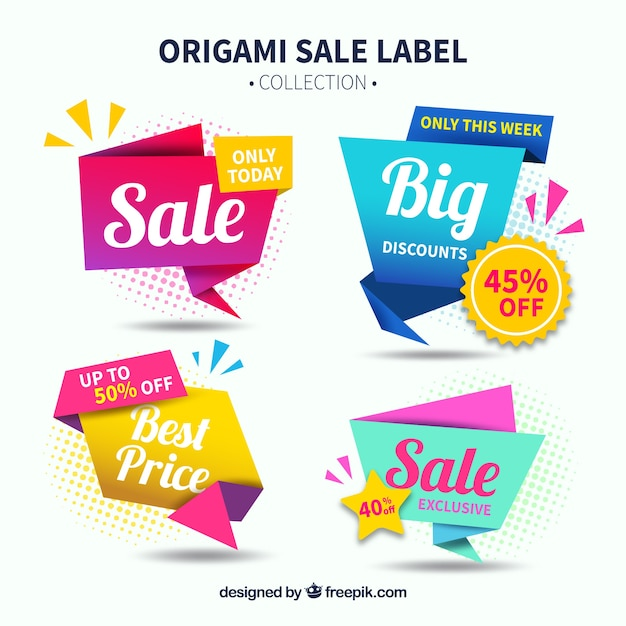 Sale label collection with origami style Free Vector