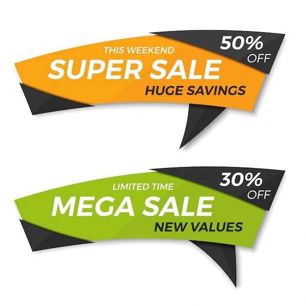 Sale label price tag banner badge template sticker Premium Vector