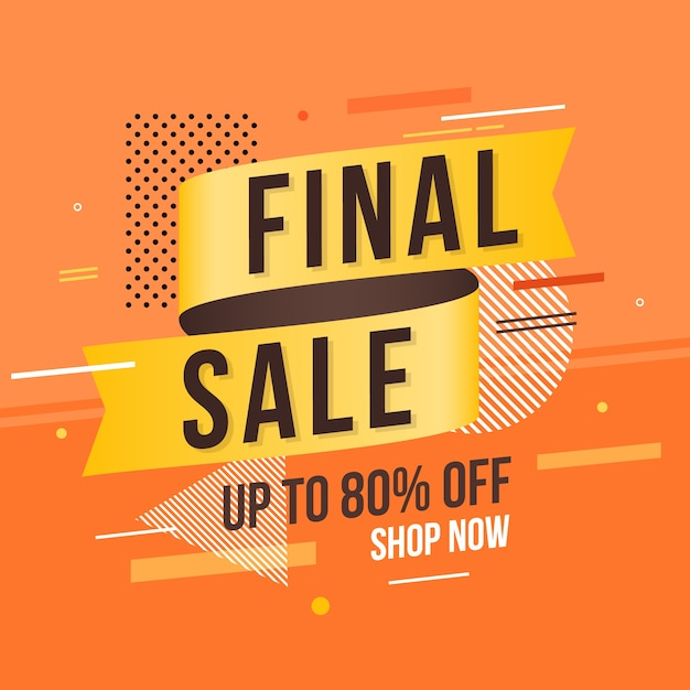 Sale label with orange abstract background Free Vector