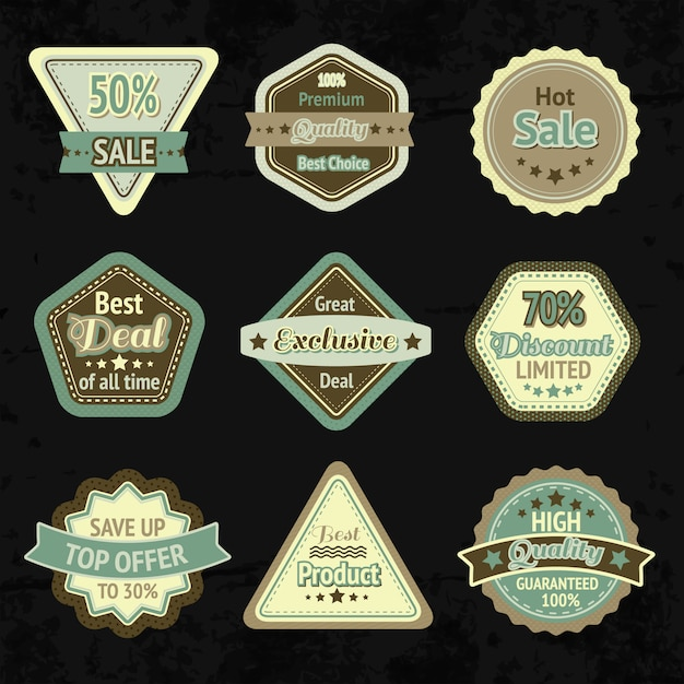 Sale labels and badges design set for best price high quality and exclusive deal isolated Free Vector