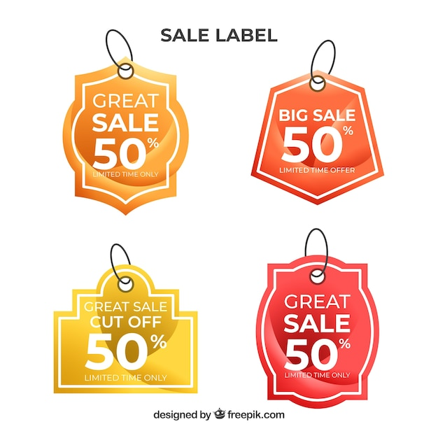 Sale labels collection in gradient colors Free Vector