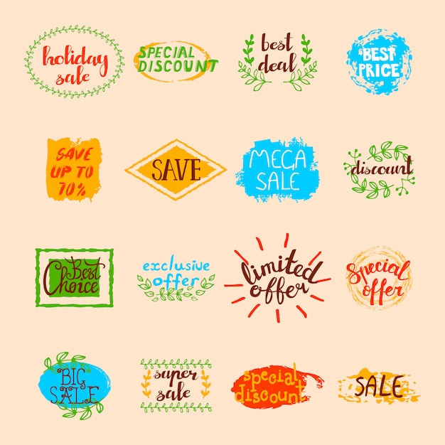 Sale labels set of different promotional advertising signs and elements in retro style Free Vector