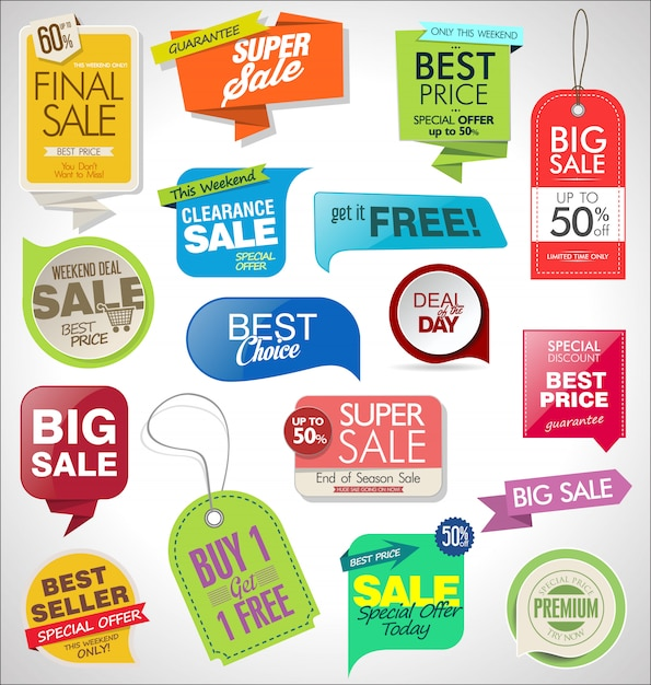 Sale labels, tags, ribbons and badges set Premium Vector