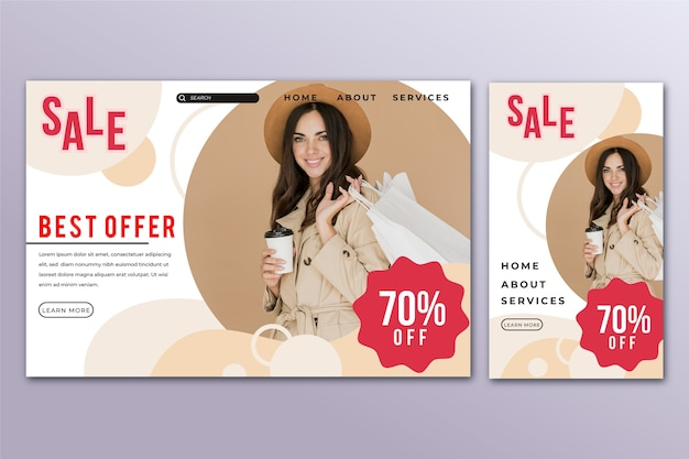 Sale landing page template with photo Free Vector