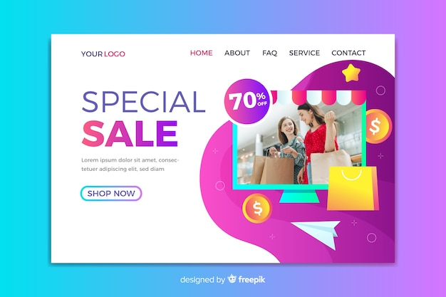 Sale landing page template Free Vector