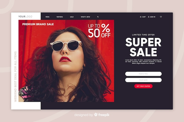Sale landing page with photo Vector | Free Download