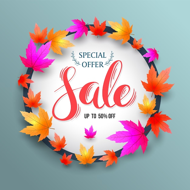 Sale lettering banner circle with maples. Premium Vector