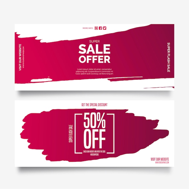 Sale offer banners with paint splashes Free Vector
