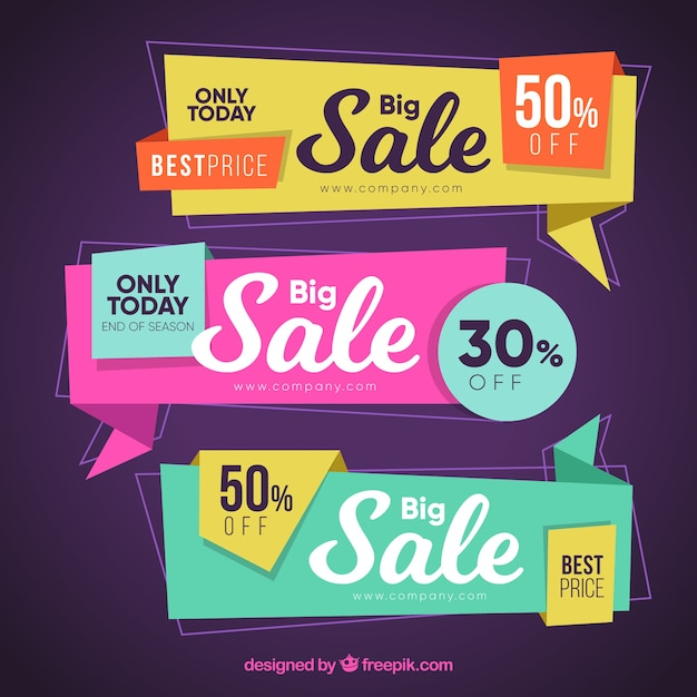 Sale origami banners Free Vector
