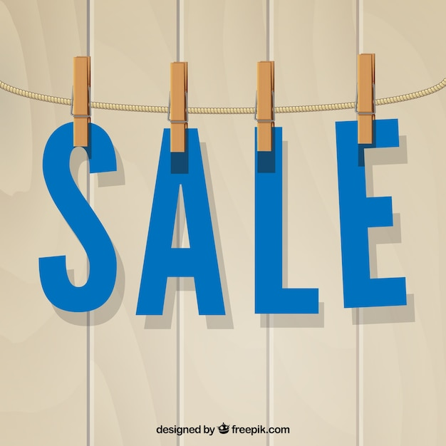 Sale, papel letters hanging with clothespins Free Vector