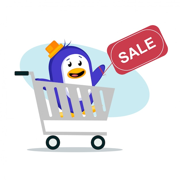 Sale penguin vector illustration Premium Vector