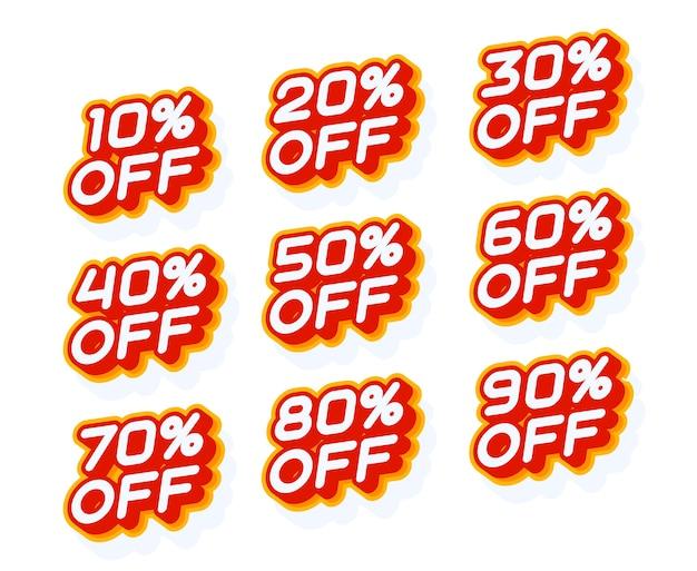 Набор процентов продаж 10 20 30 и другой красный и желтый шаблон этикетки Premium векторы