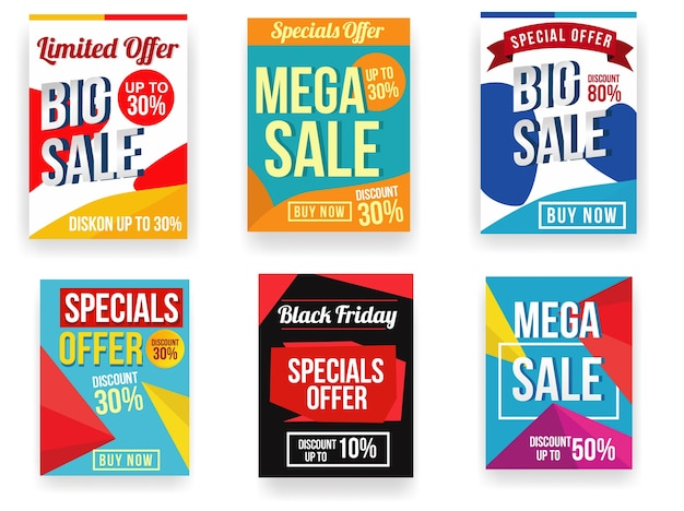 Дизайн рекламных плакатов или флаеров Premium векторы