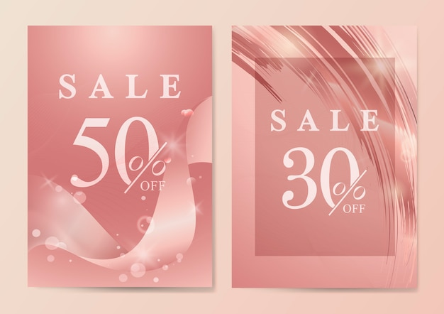 Sale poster with wave abstract vector Free Vector