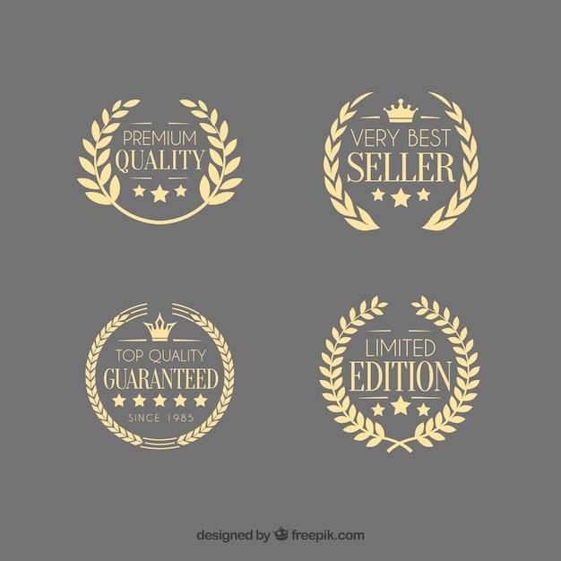 Sale premium quality laurel wreath emblems Free Vector