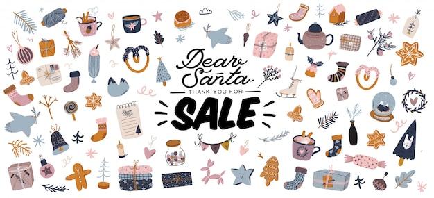 Продажа печати с красивым фоном зимы, рождественские элементы и модные надписи. Premium векторы