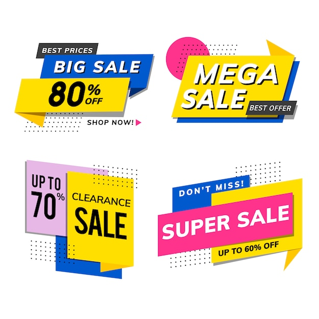 Sale promotion advertisements vector set Free Vector