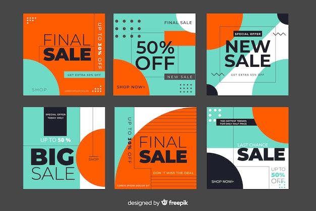 Sale promotion banner collection for social media Free Vector