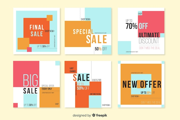 Sale promotion banner collection Free Vector
