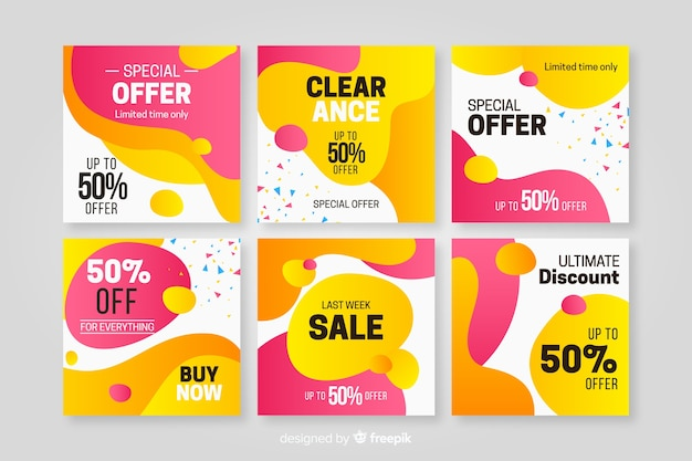 Sale promotion banners for social media Free Vector