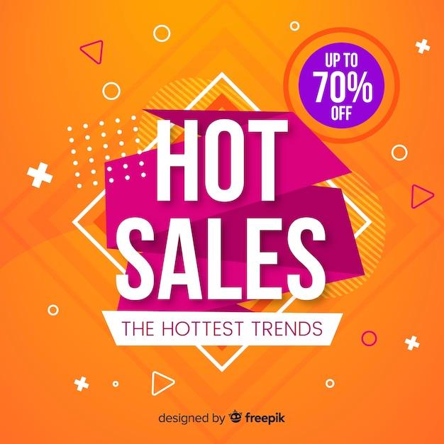 Sale promotion flat orange background Free Vector