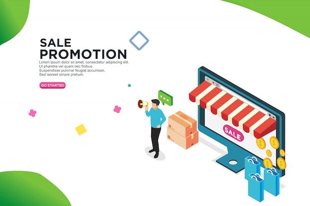 Sale promotion isometric design concept - vector Premium Vector