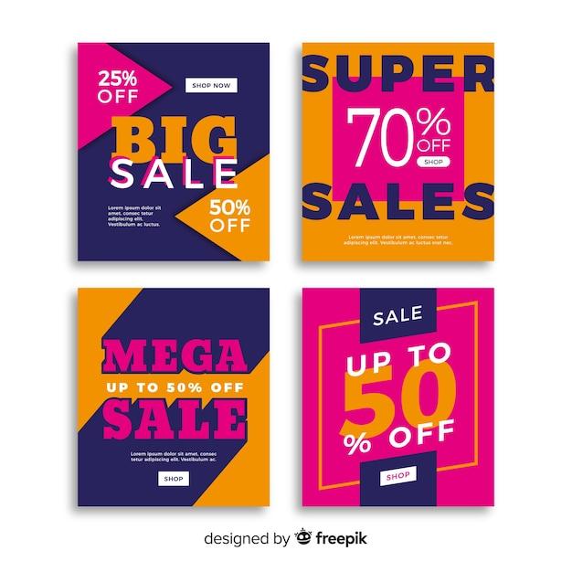 Sale promotion social media banner pack Free Vector