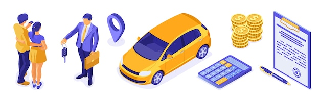 Sale, purchase, insurance, rent car isometric for landing, advertising with car, couple, realtor, insurant, key. auto rental, carpool, carsharing. Premium Vector