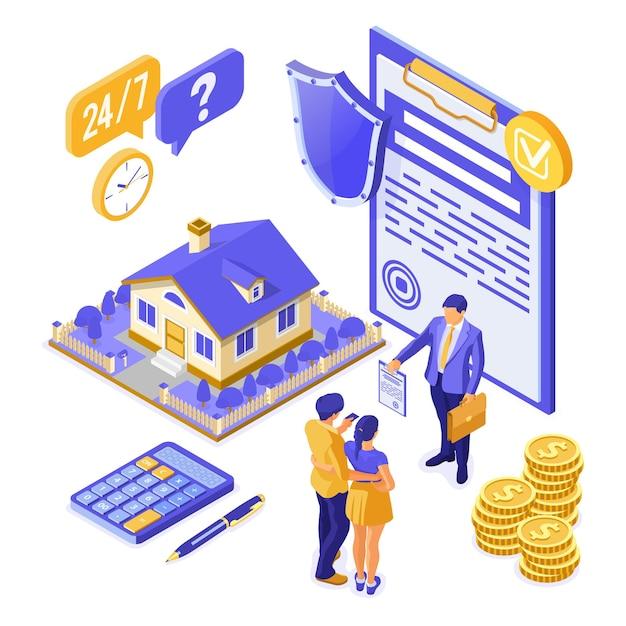 販売、購入、賃貸、住宅ローン、保険会社のアイソメトリックコンセプト、家のバナー Premiumベクター