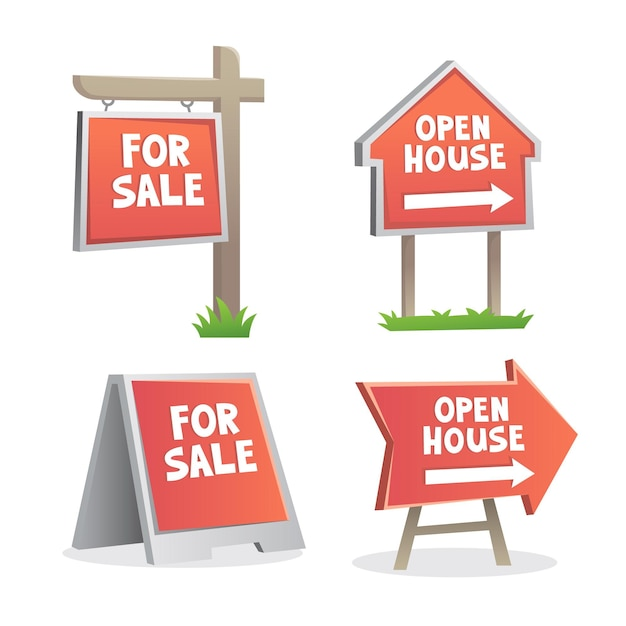 판매 부동산 표지판 컬렉션 무료 벡터
