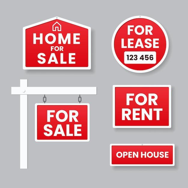 판매 부동산 표지판 컬렉션 프리미엄 벡터