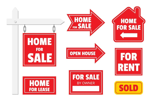Sale real estate signs collection Free Vector