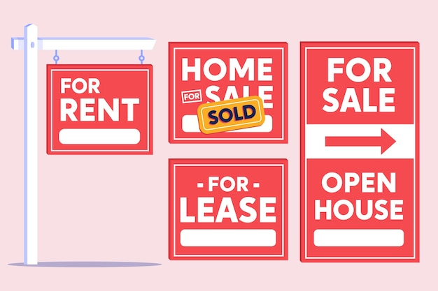 Sale real estate signs pack Free Vector