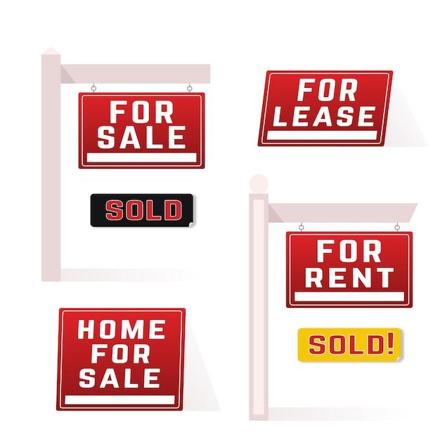 Набор знаков продажи недвижимости Бесплатные векторы