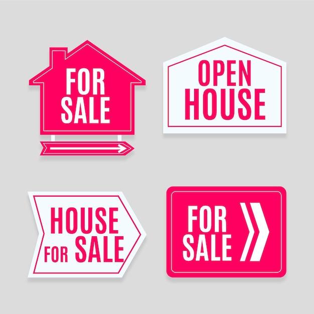 판매 부동산 표시 세트 무료 벡터