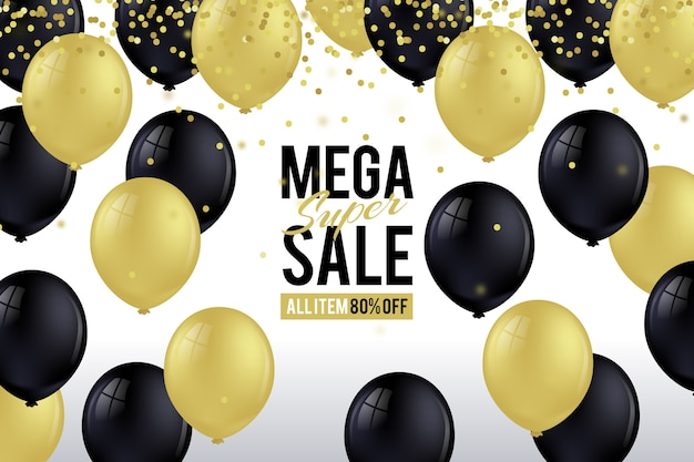 Sale realistic background with balloons Free Vector