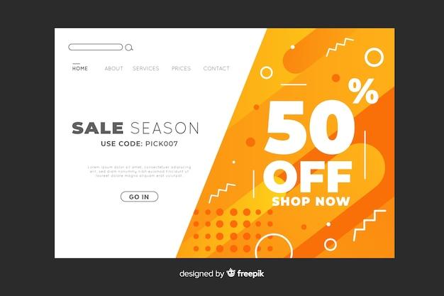 Sale season abstract landing page Free Vector