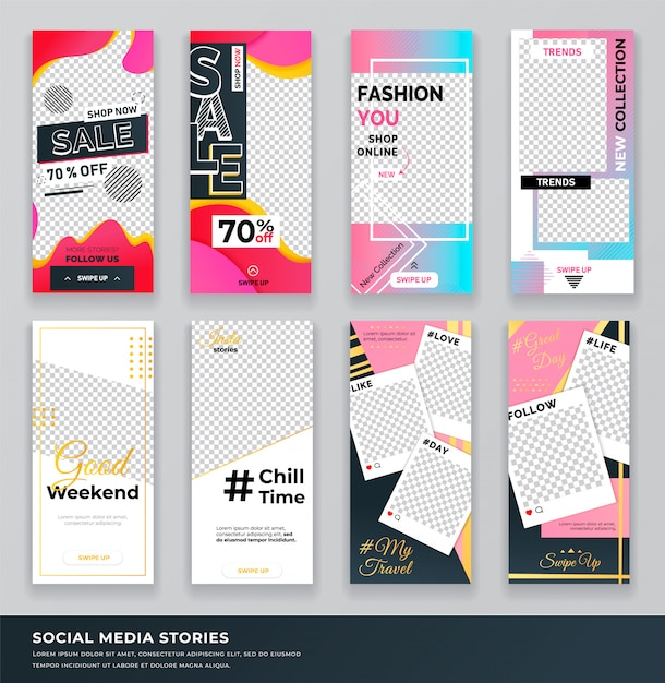 Sale shop now collection set of covers Premium Vector
