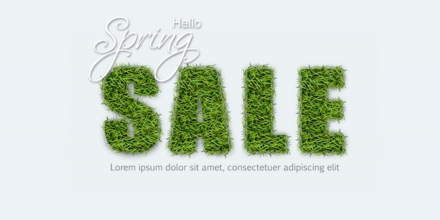 Sale sign in green grass Premium Vector