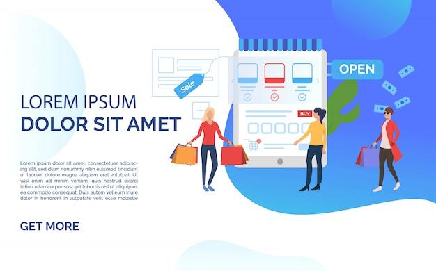 Sale slide template blue presentation Free Vector